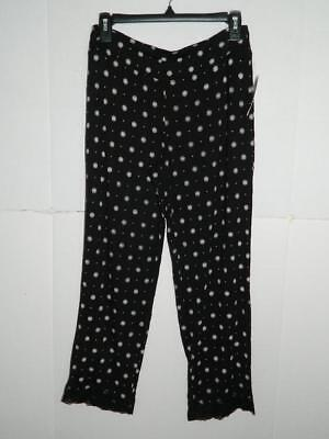 Alfani Women Black Pin Dot Lace-Trim Printed Sleepwear Pajama Pant NWT Size S A1