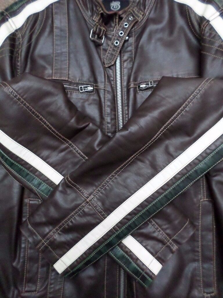 Nearly New Burton Brown Faux Leather Biker Style Jacket - Cream Green Stripe - Size Large