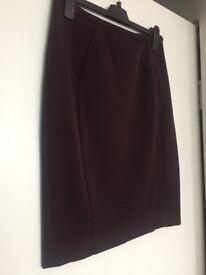 H&M Women's New Burgundy Pencil Skirt - Size 10
