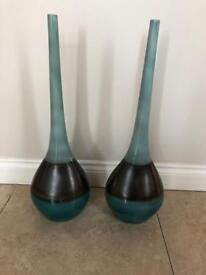 Pair of duck egg blue / teal vases