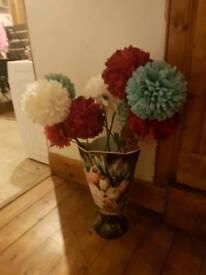 Floral floor vase with flowers