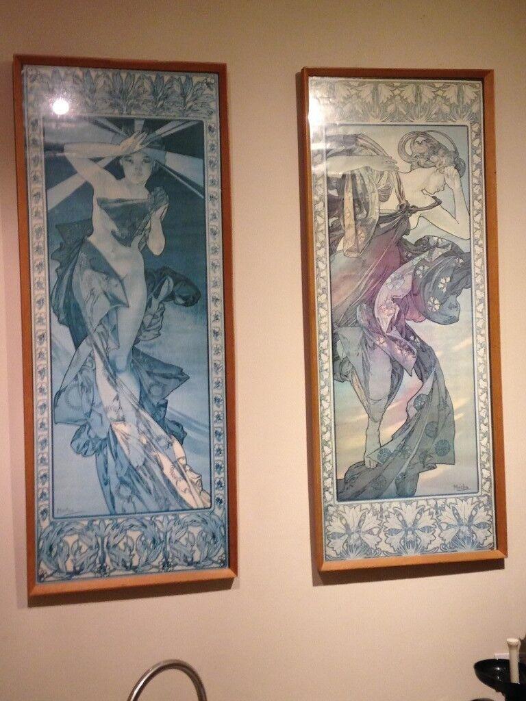 2 framed 'Alphonse Mucha' posters
