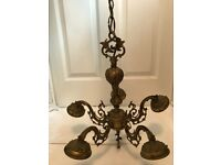 Vintage Ornate Brass 5 Arm Chandelier Ceiling Light