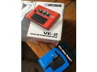 Boss VE-2 vocal harmonist pedal with AC adaptor