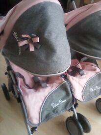 Dolls pink & Grey stroller