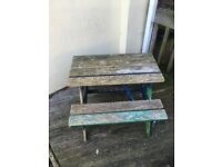 Child's wooden picnic table