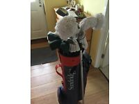 Golf bag with clubs etc