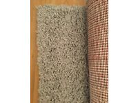 Square grey shaggy rug