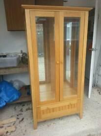 Solid oak display cabinet