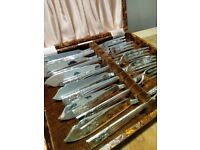 Silver plate fish cutlery set
