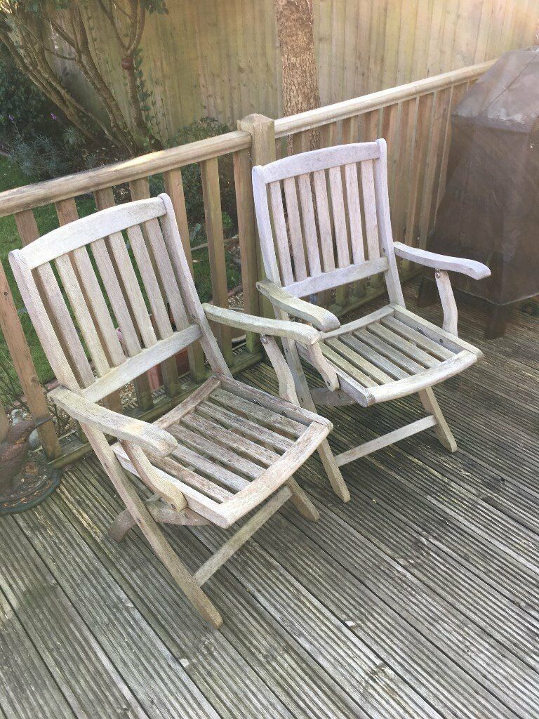 Folding Teak patio dining chairs x 2