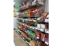 Supermarket shelves and baskets