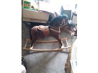 BROWN CHILDS ROCKING HORSE