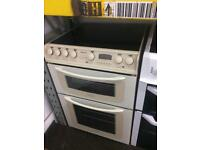 Cream Hotpoint 60cm ceramic hub electric cooker grill & double fan ovens with guarantee