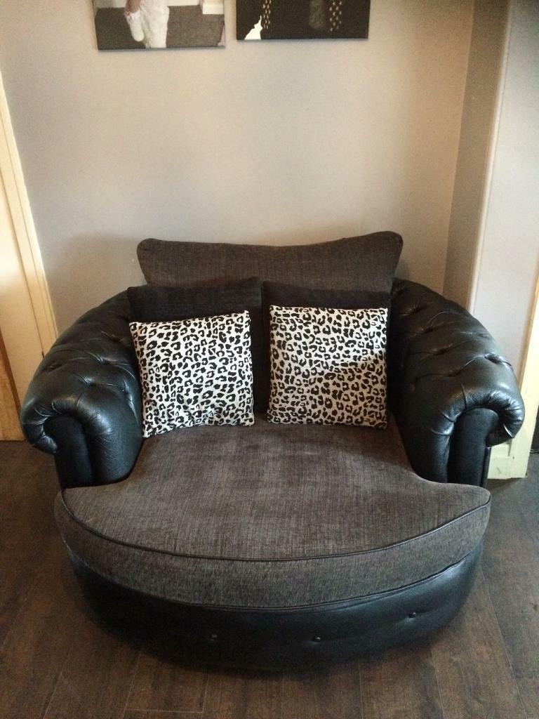 3 seater sofa and hug swivel chair