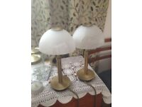 NICE PAIR OF TABLE OR BEDSIDE LAMPS,WITH TOUCH SETTINGS .
