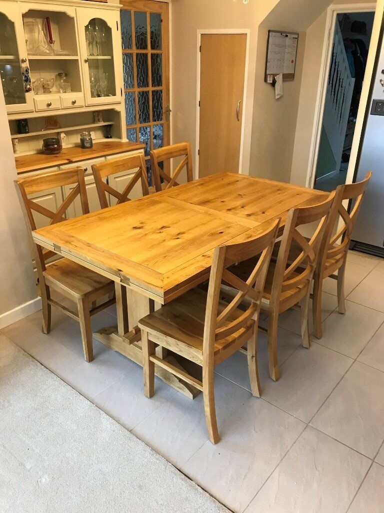 Solid Oak Table (Extending) and Chairs (6) - 6 to 10 Seater
