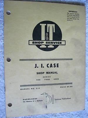 It J.i. Case 400 700b 800b Tractor Shop Manual