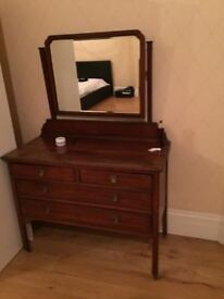 Vintage Wooden Dressing Table with wheels and a mirror
