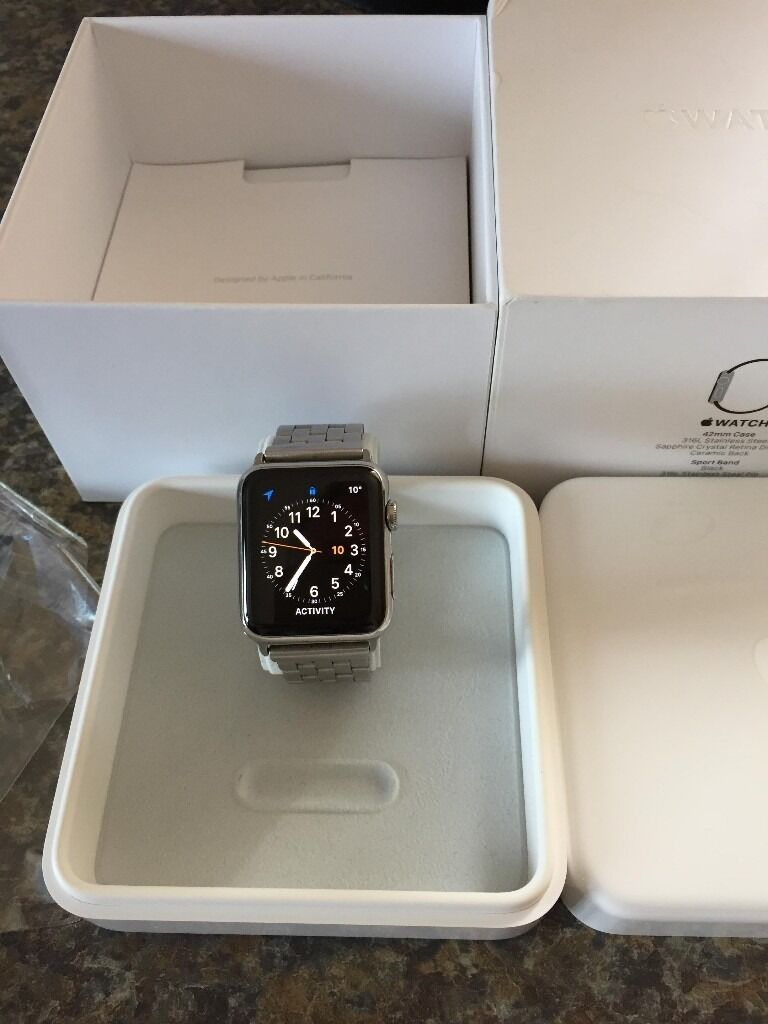 Apple Watch 42mm stainless steal series onein Newcastle, Tyne and WearGumtree - Apple Watch 42mm stainless steal series one in great condition as you can see from the photos it comes with a stainless steal designer strap and a brand new sport strap plus the original lightning cable and presentation box i have reset the watch...