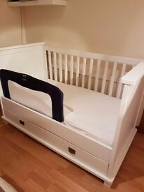 solid white wooden cot bed with unused john lewis mattress