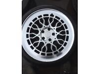 "Radi8 18"" staggered diamond cut alloy wheels , rare,"