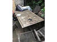 Outdoor hard wood setting - wooden table and chairs