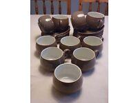 Denby crockery - cups, saucers, sugar bowl, salt & pepper