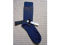 Brand new ALTO MILANO Blue Navy Socks COTTON Blend MADE IN ITALY
