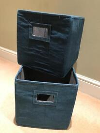 Denim Storage Boxes (with blue gingham interior)