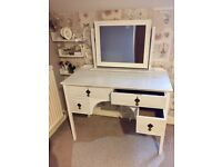 Bedroom White Ivory Makeup Desk Dressing Table With Mirror 4 Big Drawers