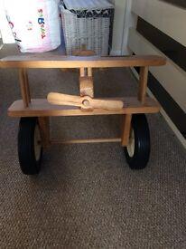 Handmade wooden ride on aeroplane toy