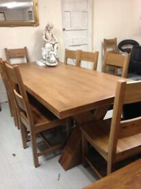 Beautiful oak dining table £550 oak chairs £80 each