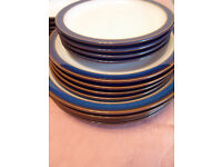 12 Denby plates in Imperial Blue . 4 each of dinner plates,salad platesand tea plates.