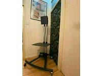 UNICOL Large Flat TV Monitor stand With Shelf On Wheels Ex Air Recording Studios