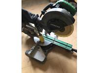 Hitachi 216mm sliding mitre saw with 110v extra blade