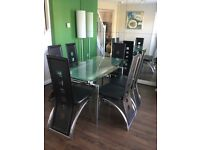 Harveys Madrid Extending Glass Dining Table and Chairs Set