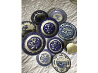 Old blue and white plates etc.