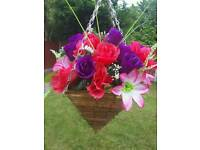 Artificial flowers hanging basket