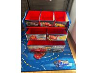 Disney cars lightening McQueen toddler bed with light up windscreen and matching storage drawers