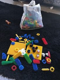 Stickle bricks and mega bloks