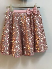 Girls Pink Sequin Top and Skirt - Monsoon