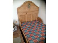 Antique pine sleigh beds (2) with slatted base board