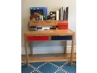 Oak Chidrens Desk with Blue/ red drawers