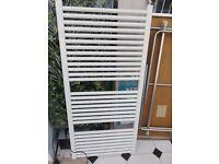 White tall bathroom radiator
