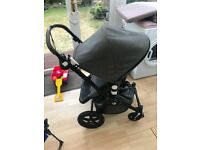 Bugaboo Cameleon 3 special edition pushchair, carrycot and accessories. Grey melange + blue