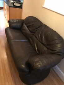 Large 3 seater brown leather sofa, hardly ever used, in very good condition