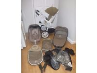 Quinny Moodd Full Travel System! White & Beige! Maxi Cosi Pebble Car Seat, Pushchair & Foldable Cot!