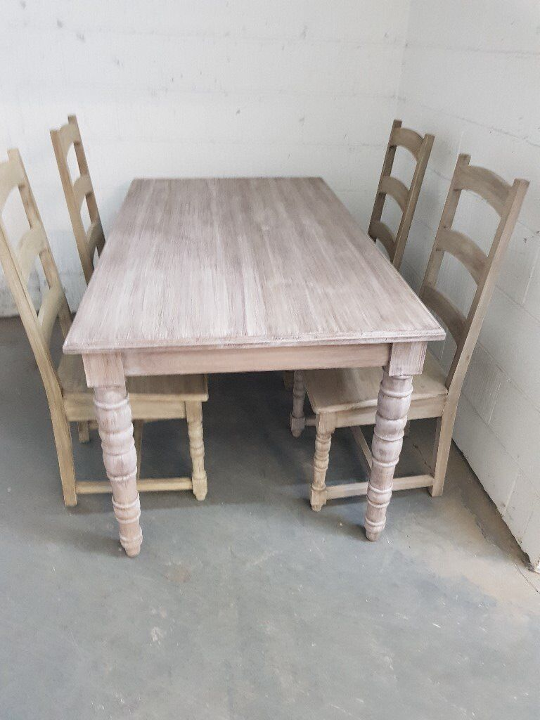NEW Assembled Limed Oak Dining Table 4 Chairs RRP 999 Oldham