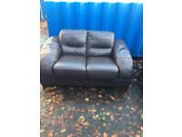 Brown Leather 3 and 2 Seat Sofas